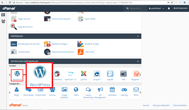 Installer WordPress sur O2Switch : cPanel Softaculous Apps Installer